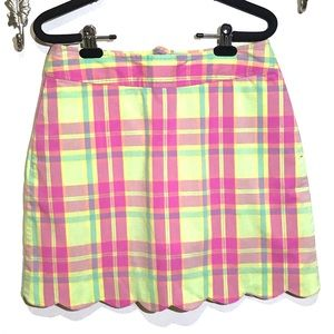 Lily Pulitzer plaid scalloped hem skirt